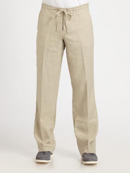 mens beige linen pants - Pi Pants